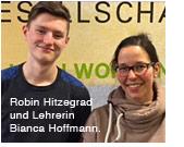 Praktikant Robin Hitzegrad und Lehrerin Bianca Hoffmann